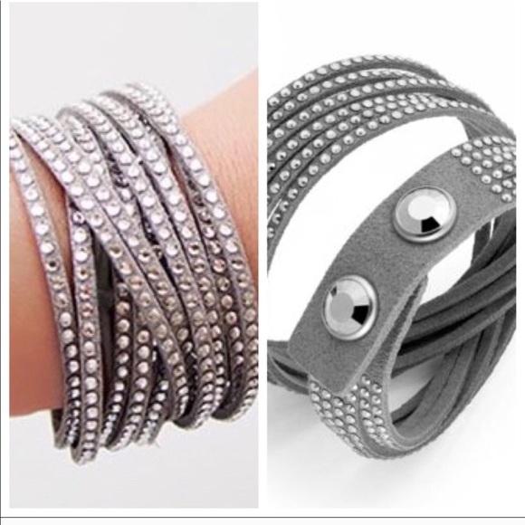New Swarovski Slake Crystal Leather Wrap Bracelet